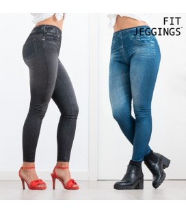 2 Leggings Stile Jeans Modellanti Fit Jeggings